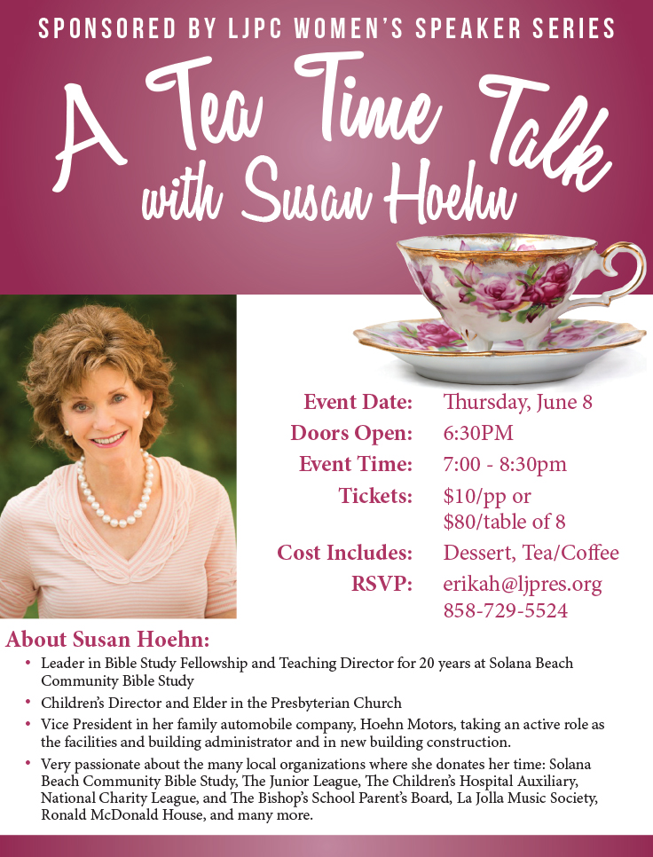 Tea Time with Susan Hoehn flier with bullets